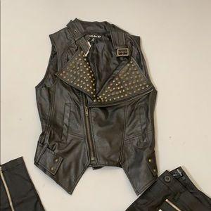 Double Zero Faux LeatherStudded Vest